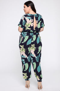 Relax In The Tropics Jumpsuit - Navy/Combo Angle 8