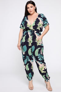 Relax In The Tropics Jumpsuit - Navy/Combo Angle 5