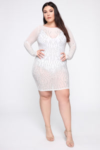 Make Em Stare Mesh Dress - White