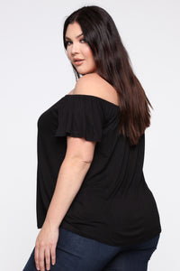 Krystal Off Shoulder Top - Black Angle 3