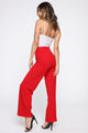 JLo Button Front Wide Leg Pant - Red