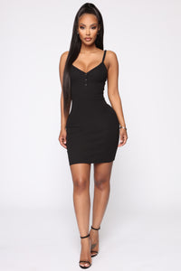 In A Snap Ribbed Mini Dress - Black Angle 4