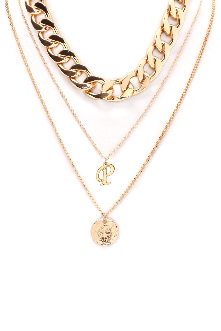 Know My Name P Layered Necklace - Gold