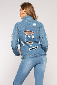 Valarie Distressed Denim Jacket - Medium Wash