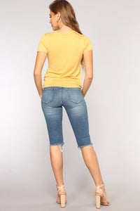 Slice Of Life Knee Shorts - Dark Denim