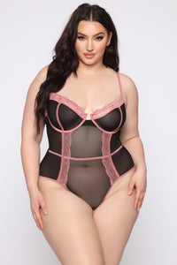 Try Harder Lace Teddy Bodysuit - Black/Rose Angle 4