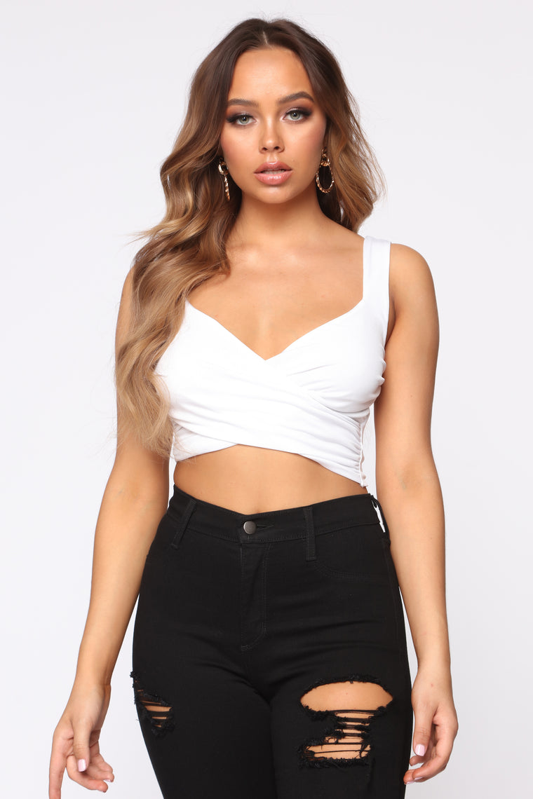 So We Can Make Up Cropped Tank - White