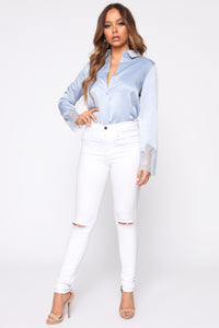 Haven Satin Top - Light Blue