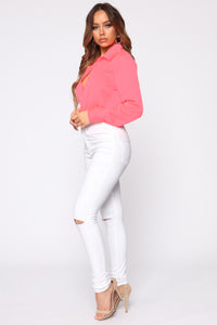 Smooth Talkin' Button Down Top - Neon Pink