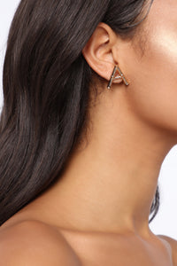 Letter A Bamboo Stud Earrings - Gold