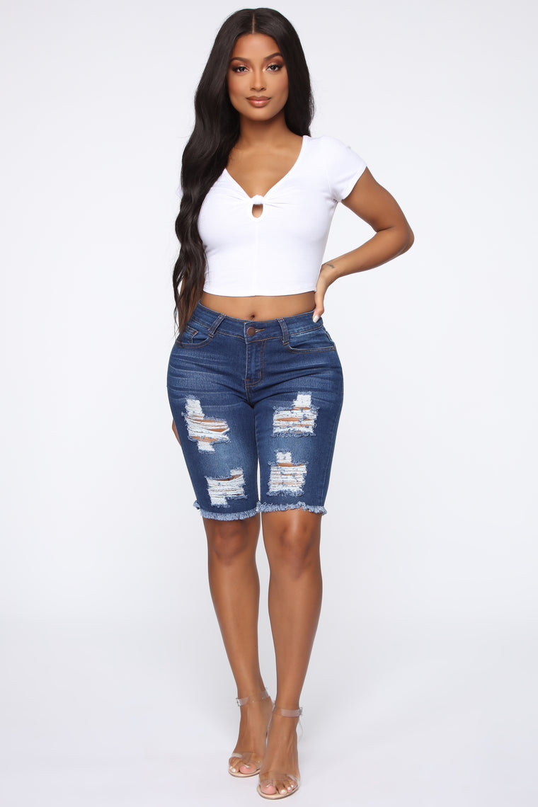 Against All Odds Bermuda Shorts - Medium Blue Wash