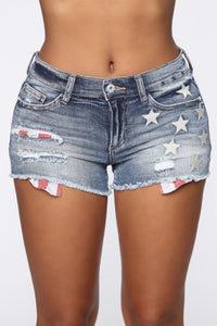 Miss July Denim Shorts - Medium Blue Wash Angle 1