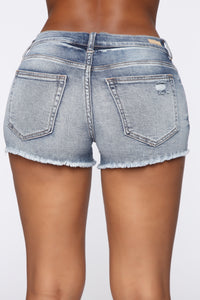 Miss July Denim Shorts - Medium Blue Wash Angle 5