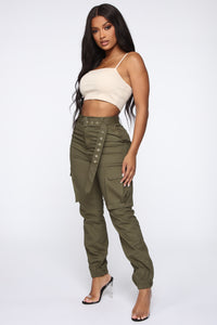 Belt It Out Cargo Joggers - Olive Angle 4