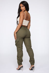 Belt It Out Cargo Joggers - Olive Angle 6