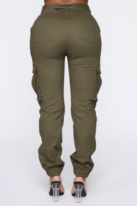 Belt It Out Cargo Joggers - Olive Angle 7