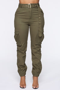 Belt It Out Cargo Joggers - Olive Angle 3