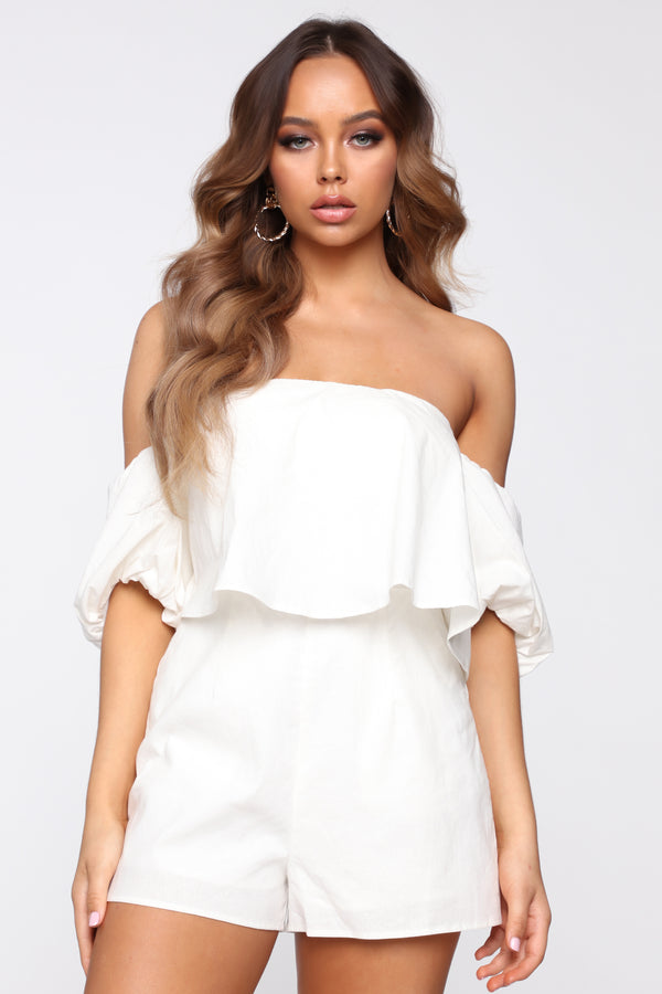 9a043b49f8 In Search For Love Off Shoulder Romper - White