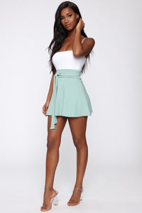 Ride Or Tie Waist Skirt - Sage