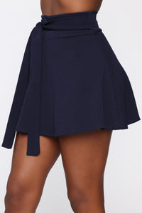 Ride Or Tie Waist Skirt - Navy