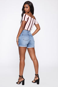 Stripe Down Top - White/Combo