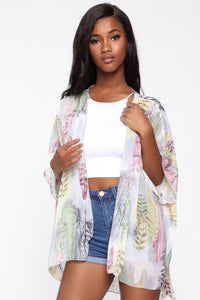 Shower Me With Love Kimono - Grey