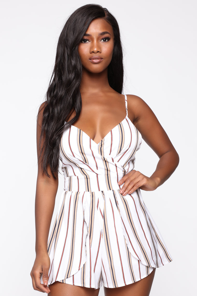 Holly Striped Romper - Ivory/Combo