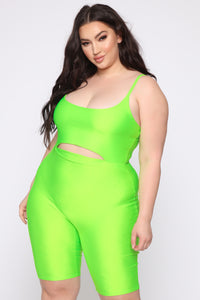 More Than Expected Biker Short Romper - Neon Lime