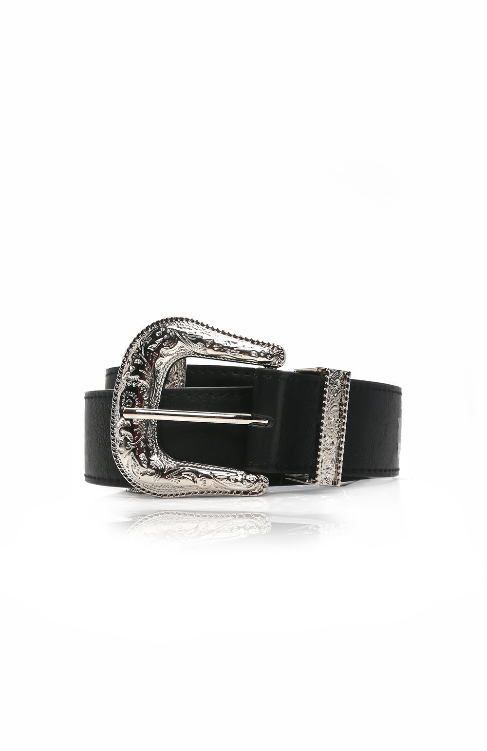 Brianna Double Buckle Belt - Black/Silver
