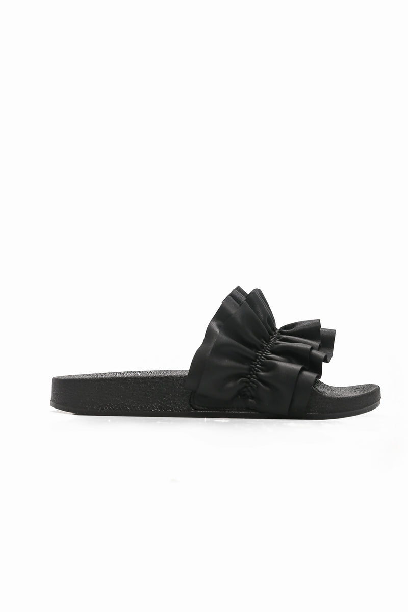Rock And Ruffle Slide - Black