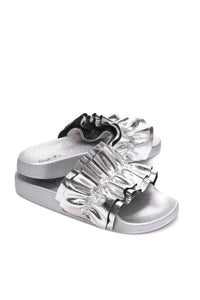 Rock And Ruffle Slide - Silver