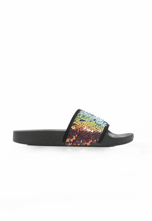 Sequin Sis Slides - Black