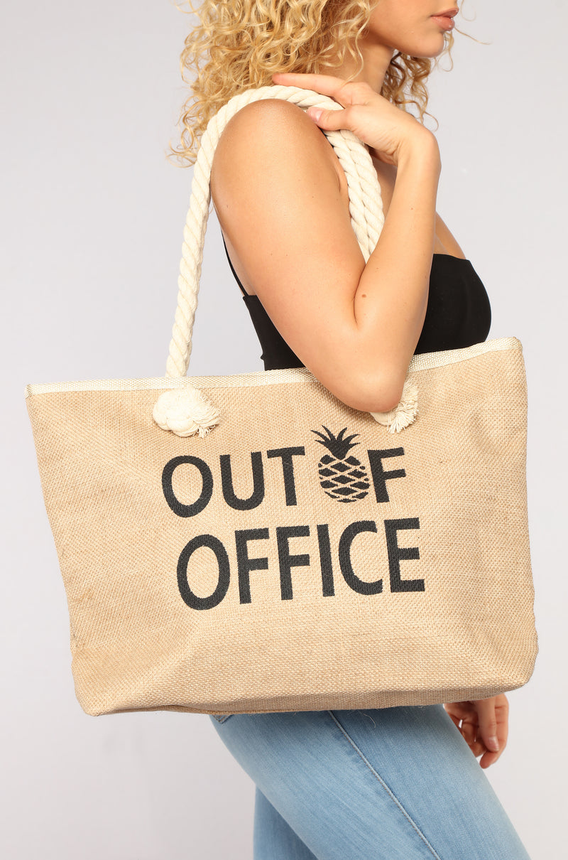 Out Of Office Beach Tote - Black Multi