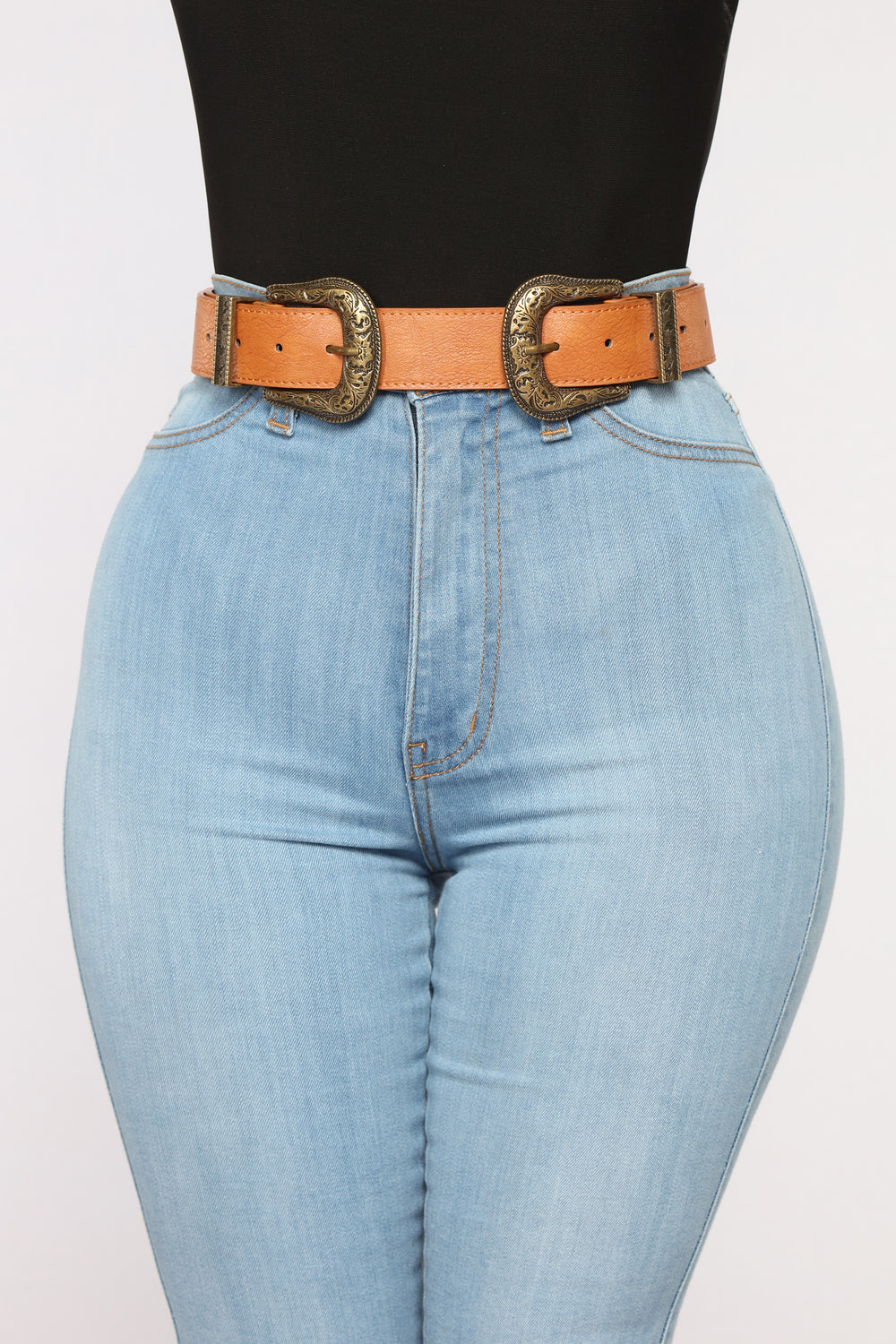 Brianna Double Buckle Belt - Tan/Gold