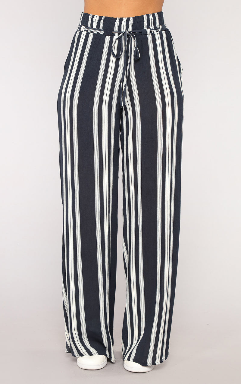 Step Up The Stripe Pants - Blue
