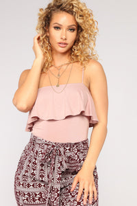 Cindy Ruffle Top - Mauve