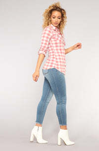 Lounge Lover Gingham Top - Pink