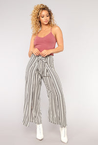 See You Later Print Pants - White/Black