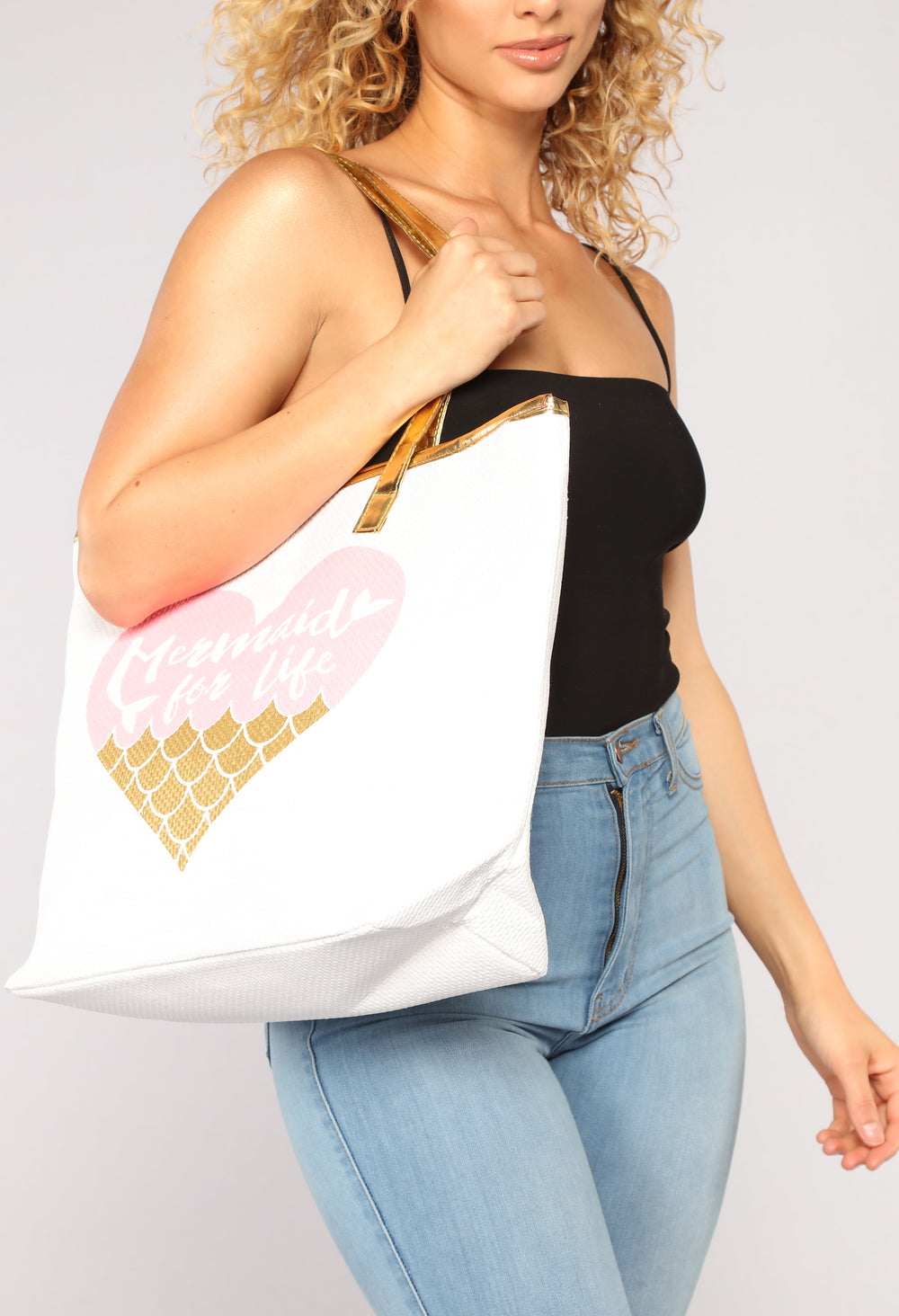 Mermaids For Life Beach Tote - Gold