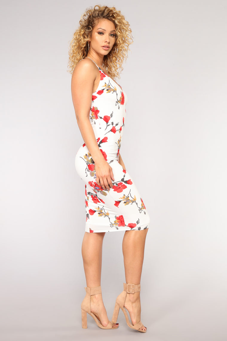 Simple Garden Floral Dress - White/Red