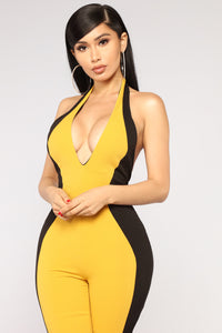 Speed Limit Colorblock Jumpsuit - Mustard/Black