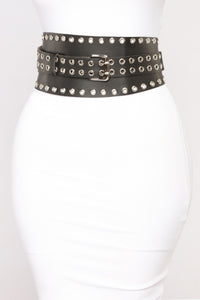 Isabel Studded Waist Belt - Black