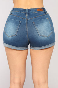 No More Trouble High Rise Shorts - Medium Blue Wash