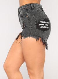 You Didn't Know Denim Shorts - Black Angle 4