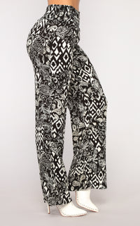Total Floral Print Pants - Black