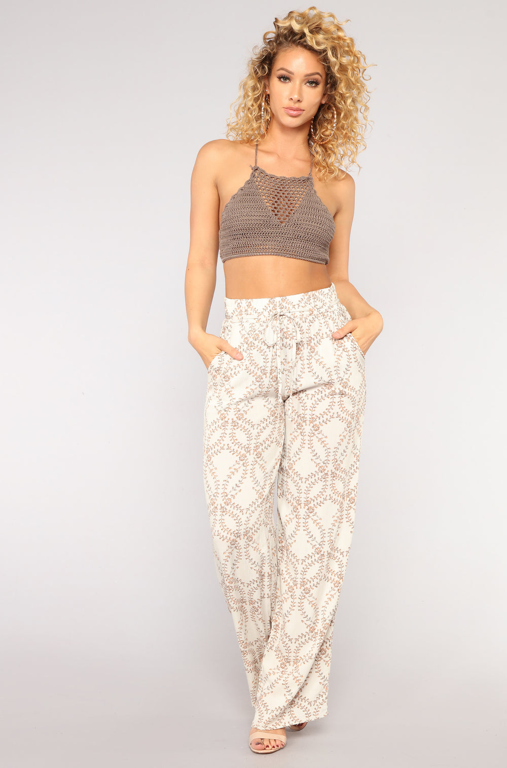 Total Floral Print Pants - Natural