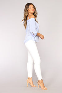 Bree Off Shoulder Top - White/Blue