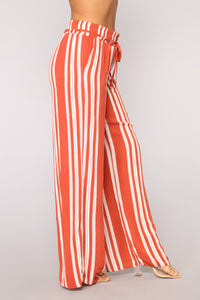 Step Up The Stripe Pants - Rust