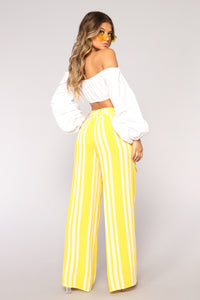 Step Up The Stripe Pants - Yellow