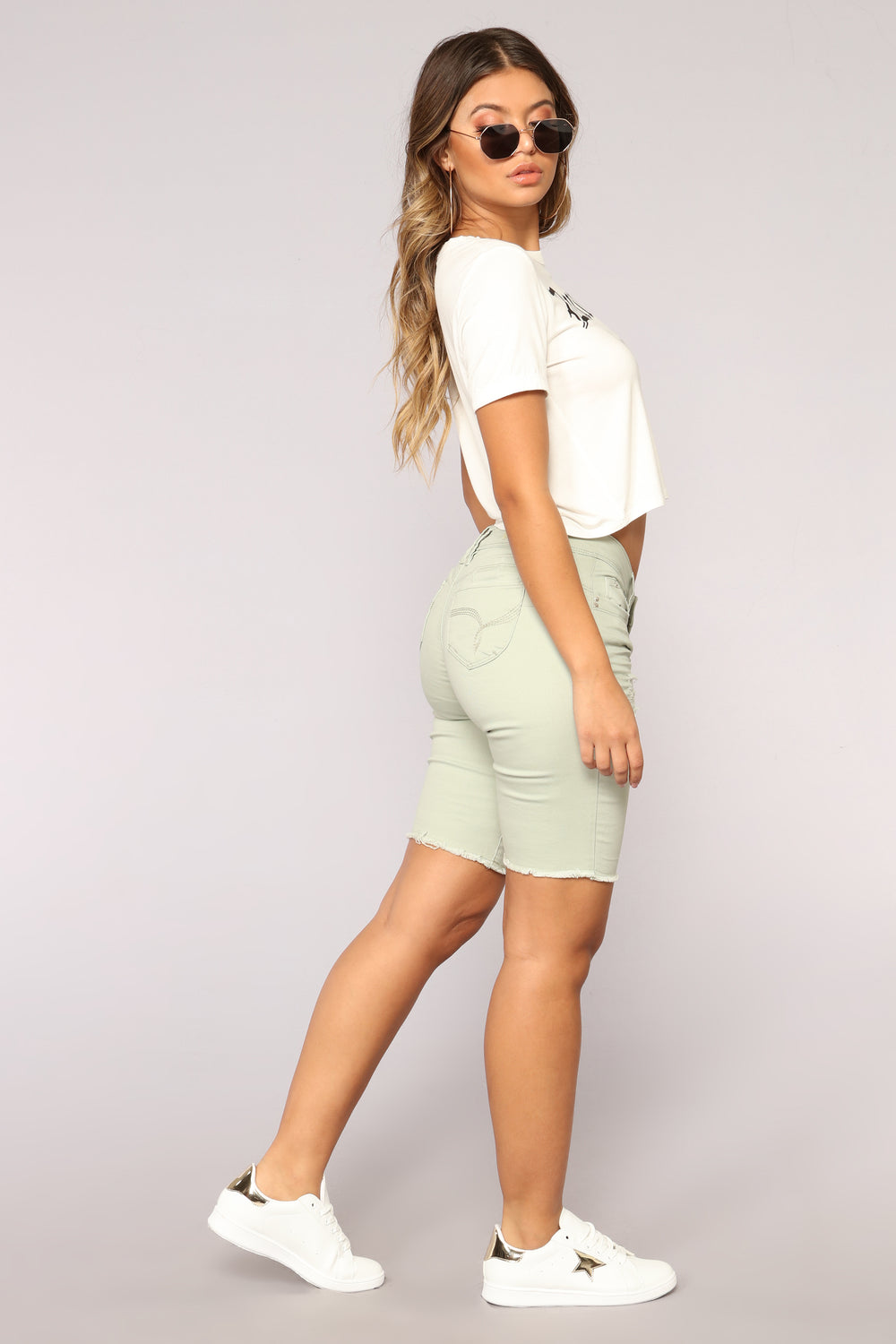 Party Lights Denim Bermudas - Sage